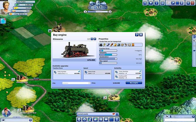 Покупка поезда в игре Rail Nation