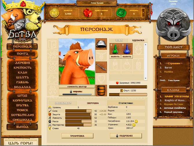 Прокачка персонажа в Ботве онлайн